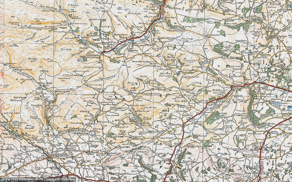 Old Map of Historic Map covering Lawnt, The in 1921