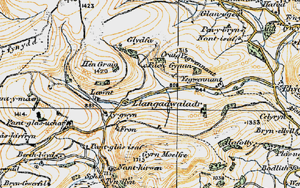 Old map of Ysgwennant in 1921