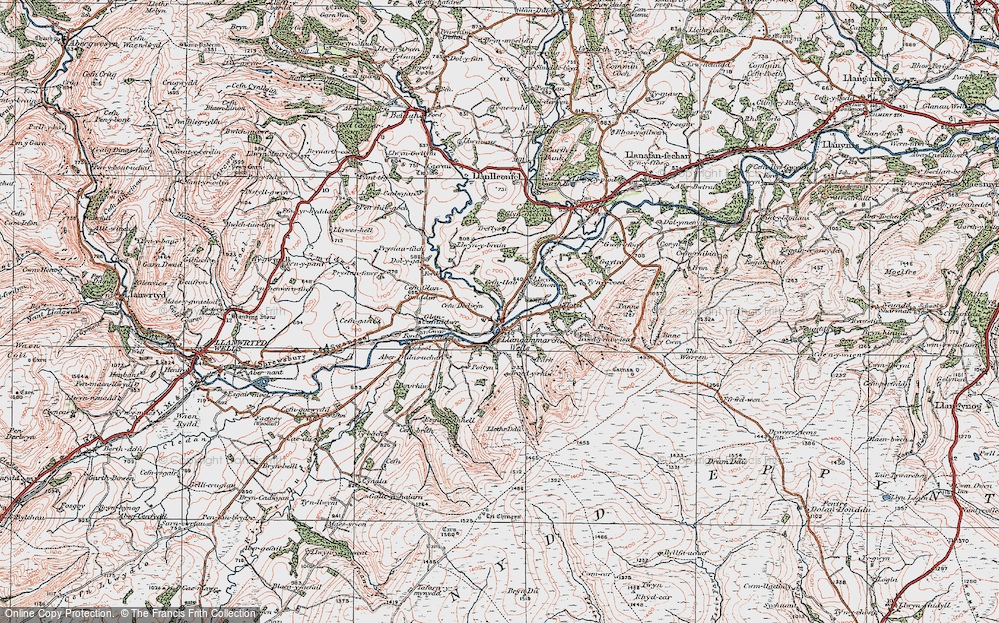 Old Map of Llangammarch Wells, 1923 in 1923
