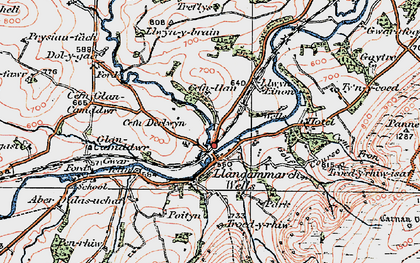 Old map of Llangammarch Wells in 1923
