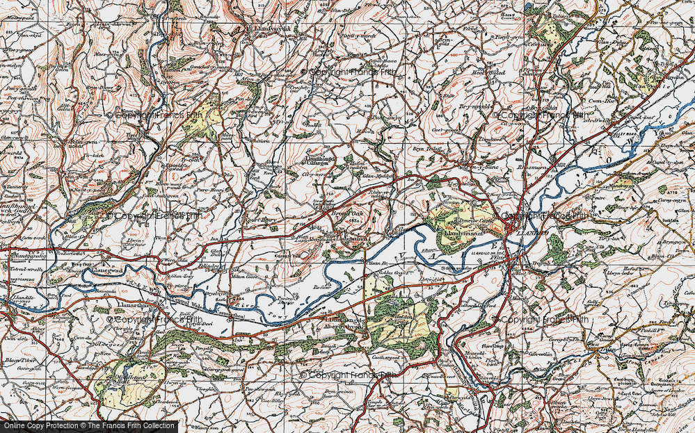 Old Map of Historic Map covering Aberglasney in 1923
