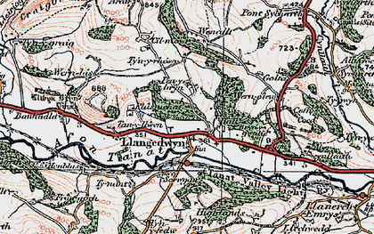 Old map of Llangedwyn in 1921