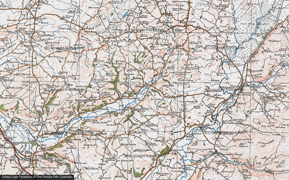 Old Map of Historic Map covering Aeron Dale in 1923