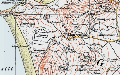 Old map of Llangennith in 1923