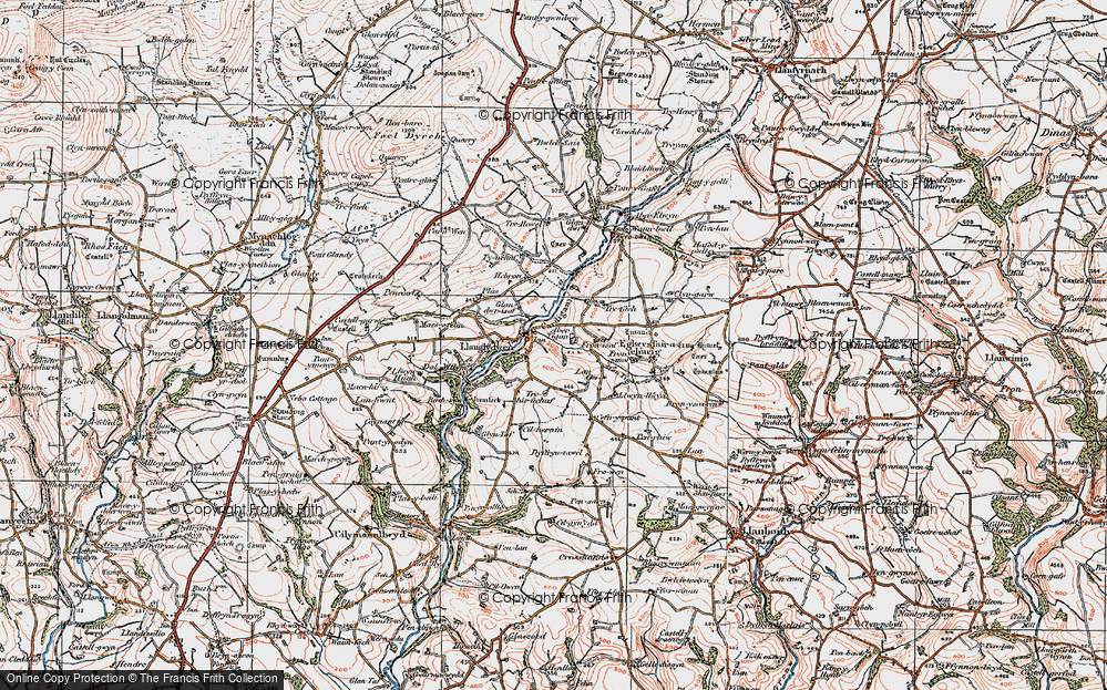 Old Map of Historic Map covering Afon Tigen in 1922