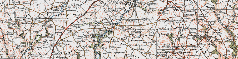 Old map of Afon Tigen in 1922