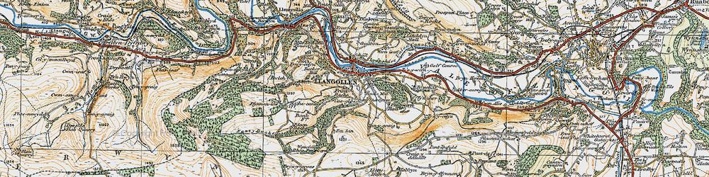 Old map of Llangollen in 1921