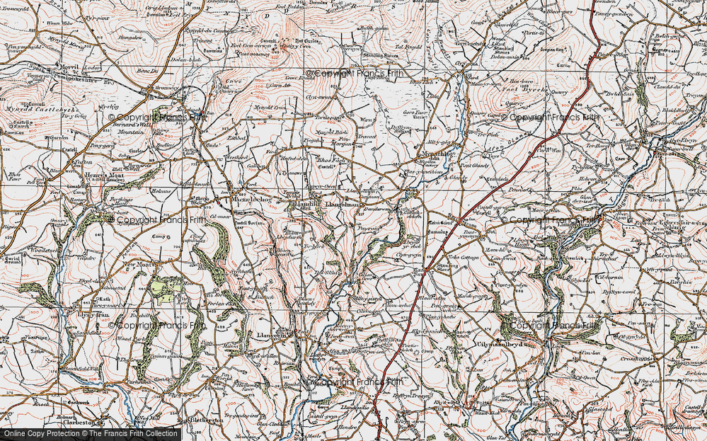 Old Map of Historic Map covering Alltypistyll in 1922