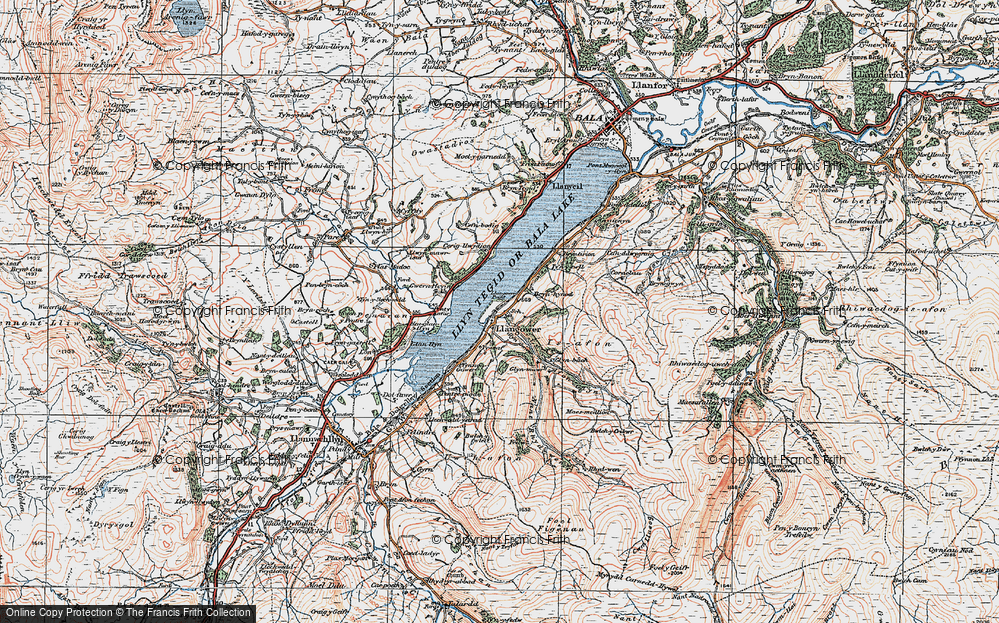 Old Map of Historic Map covering Afon Glyn in 1921