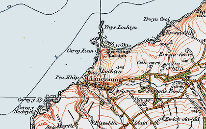 Old map of Ynys-Lochtyn in 1923