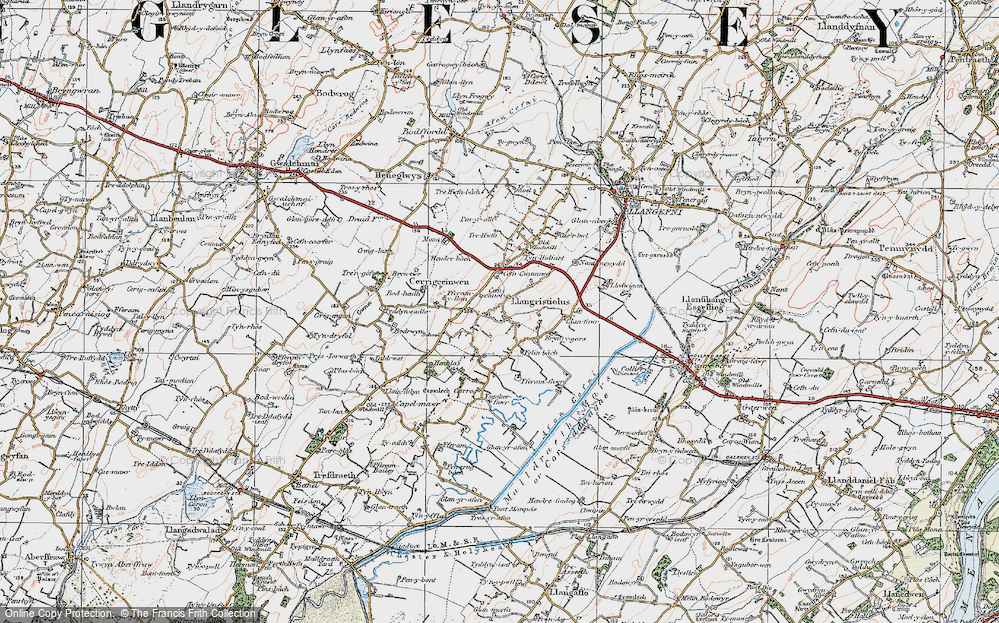 Old Map of Historic Map covering Afon Cefni in 1922