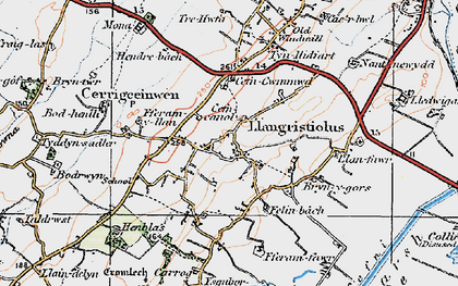 Old map of Afon Cefni in 1922