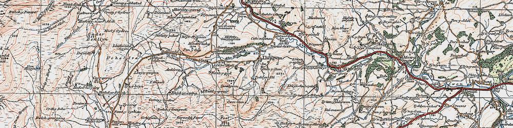 Old map of Aeddren in 1922