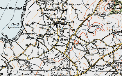 Old map of Llangwnnadl in 1922