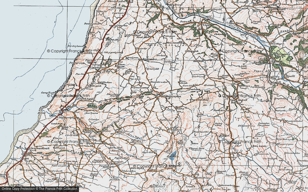 Old Map of Historic Map covering Afon Wyre in 1922