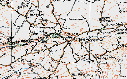 Old map of Afon Wyre in 1922