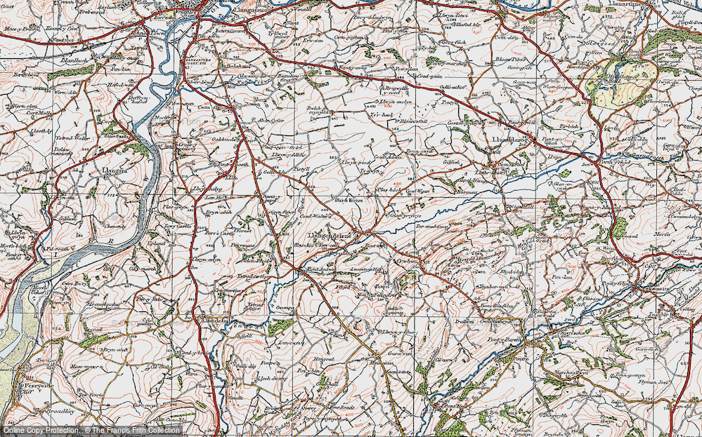 Old Map of Historic Map covering Alltycadno in 1923
