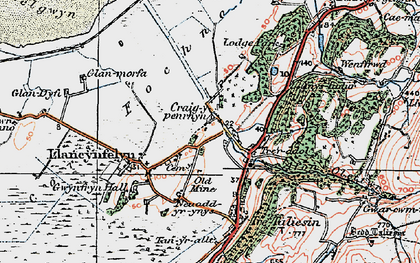 Old map of Llangynfelyn in 1922
