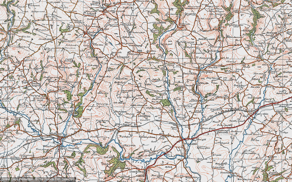 Old Map of Historic Map covering Afon Fenni in 1922