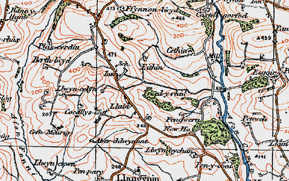 Old map of Bank y llain in 1922
