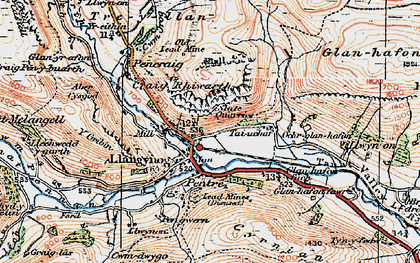 Old map of Afon Eirth in 1921