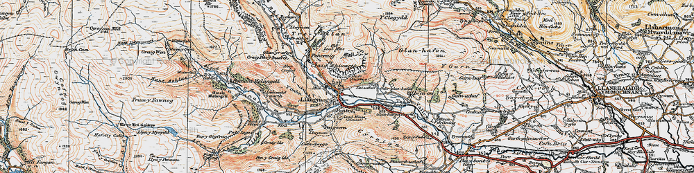 Old map of Llangynog in 1921