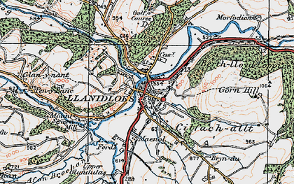 Old map of Llanidloes in 1922