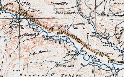 Old map of Afon Bidno in 1922