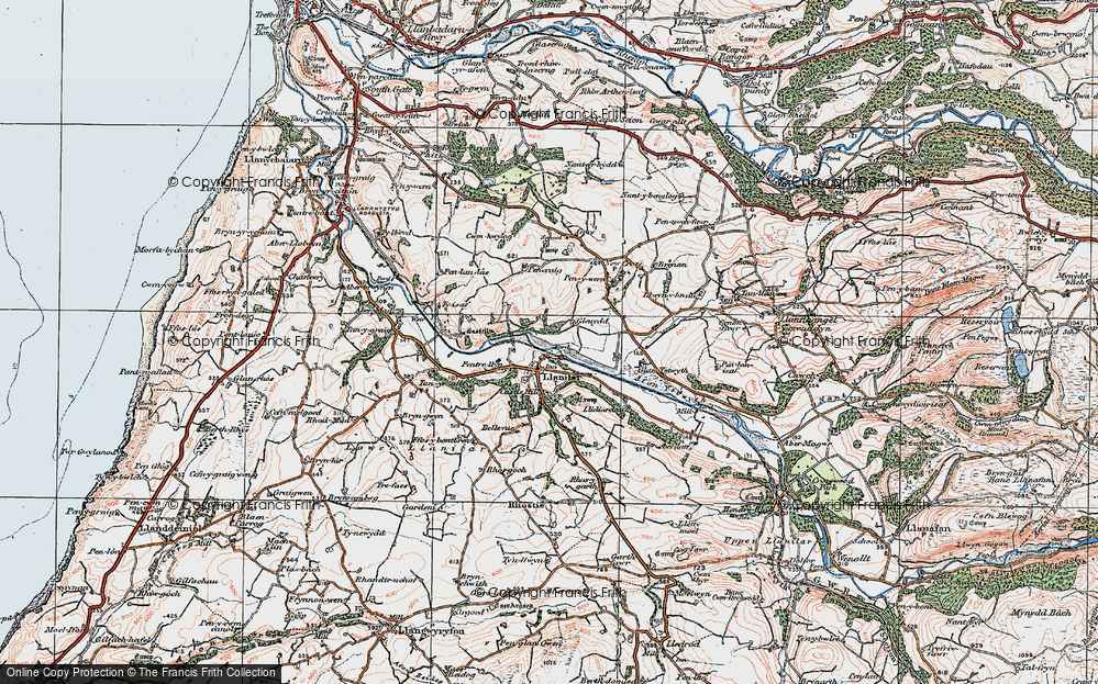 Old Map of Historic Map covering Lanlwyd in 1922