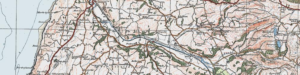 Old map of Llanilar in 1922