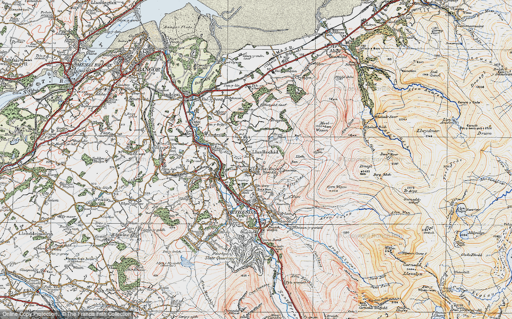 Old Map of Historic Map covering Afon Ogwen in 1922