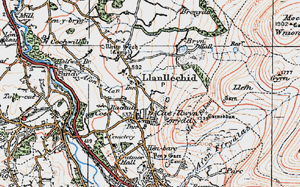 Old map of Afon y Llan in 1922