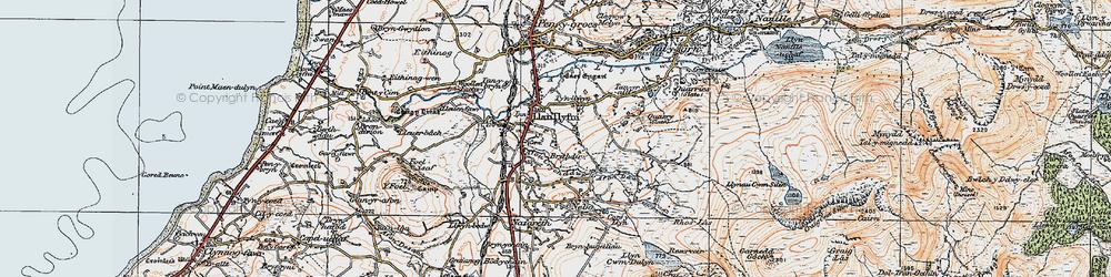 Old map of Llanllyfni in 1922