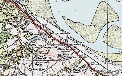 Old map of Llannerch-y-môr in 1924