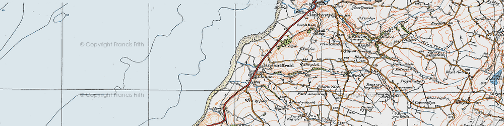 Old map of Llanon in 1922