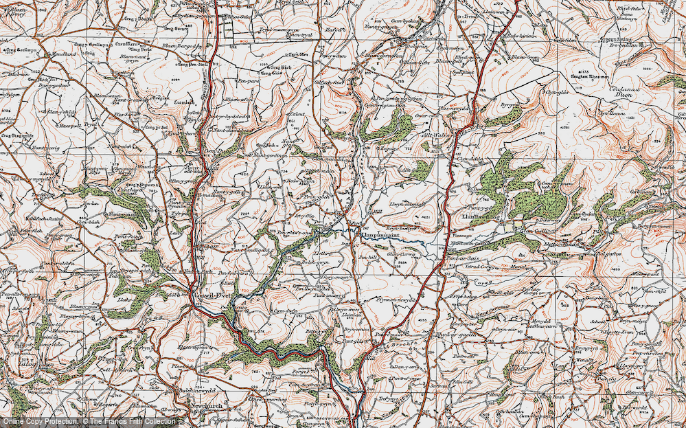 Old Map of Historic Map covering Alltgaredig in 1923