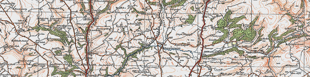 Old map of Alltgaredig in 1923