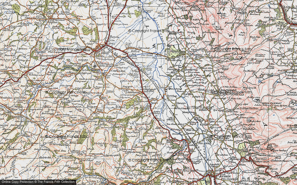 Old Map of Llanrhaeadr, 1922 in 1922
