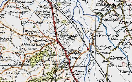 Old map of Llanrhaeadr in 1922