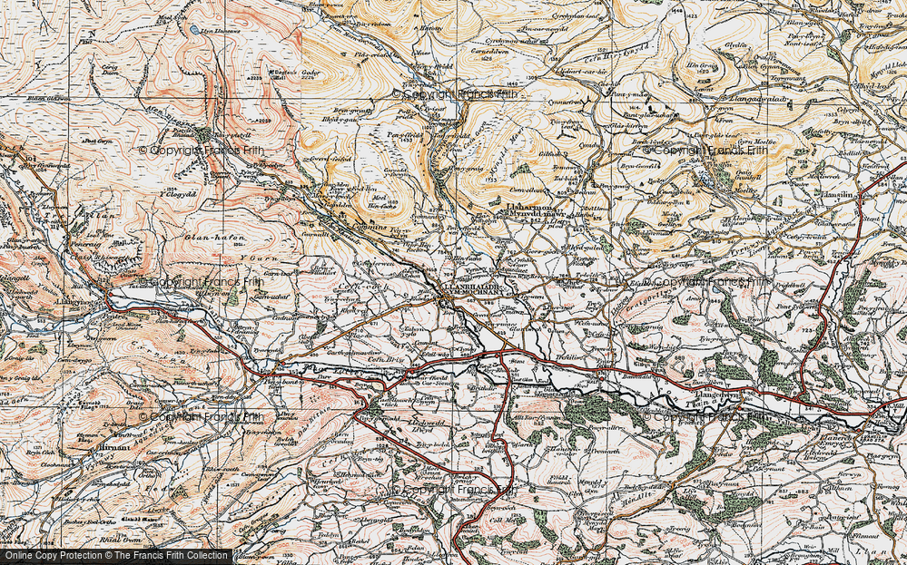 Old Map of Historic Map covering Afon Rhaeadr in 1921