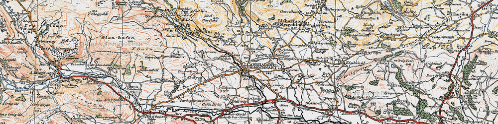 Old map of Afon Rhaeadr in 1921