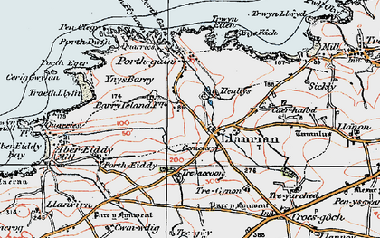 Old map of Llanrhian in 1922