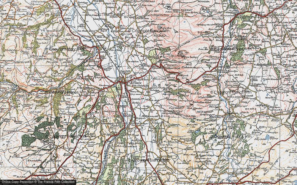 Old Map of Llanrhydd, 1924 in 1924