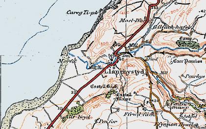 Old map of Llanrhystud in 1922