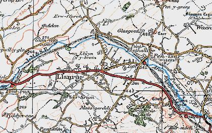 Old map of Llanrug in 1922
