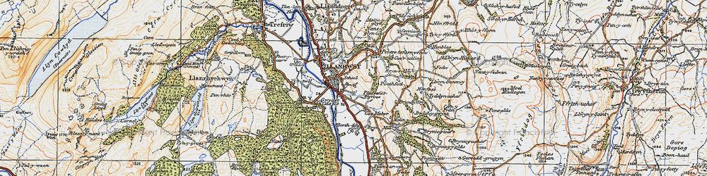 Old map of Llanrwst in 1922