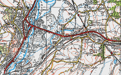 Old map of Llansamlet in 1923