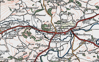 Old map of Llansanffraid-ym-Mechain in 1921