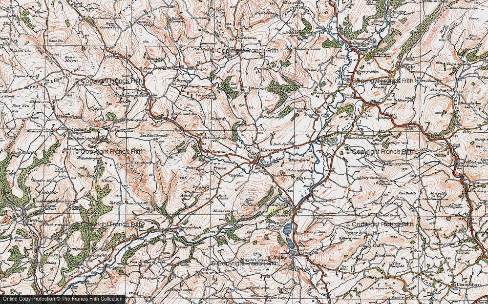 Old Map of Historic Map covering Banc Beili-Tew in 1923
