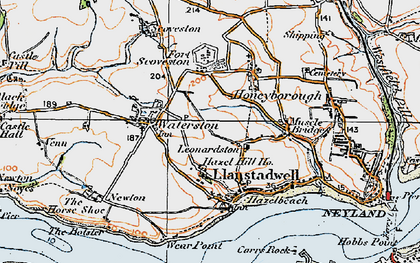 Old map of Llanstadwell in 1922